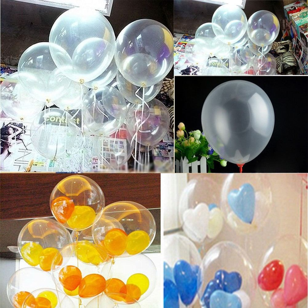 50 globos latex cristal transparentes decoraci n helio - Globos de decoracion ...