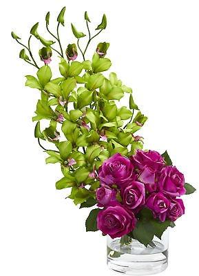 Latitud Ejecutar Arreglo Floral Rosa Y Orquídea Dendrobium