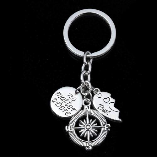 lauhonmin 2pcs bbf mejor amigos clave cadena anillo set no m