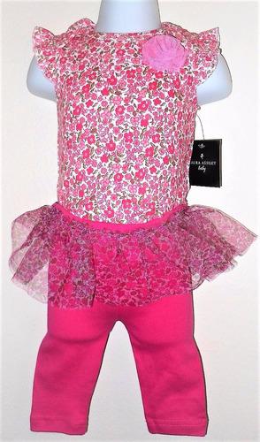 laura ashley bebe body calça saia bailarina 3-6 meses novo