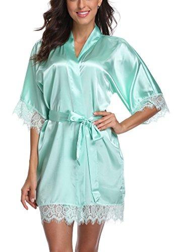 laurel nieve corto satén kimono túnica mujer color puro