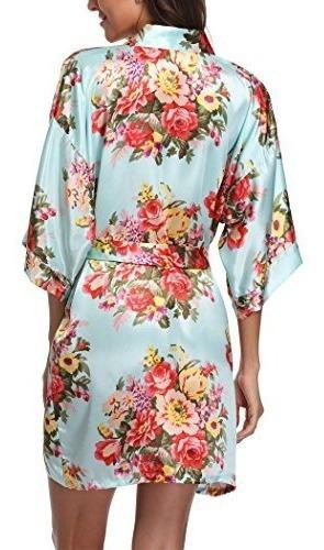 laurel snow floral satin kimono robes for women short brides