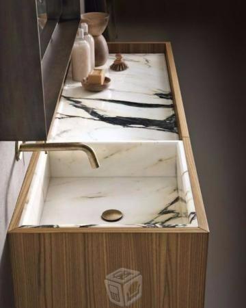 lavabo con marmol italiano madera holandesa