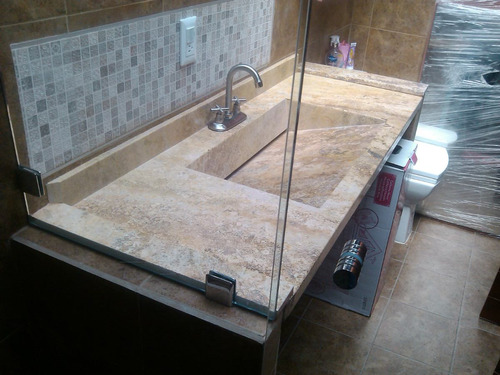 Lavabo de marmol travertino 3 en mercado libre for Lavamanos de marmol