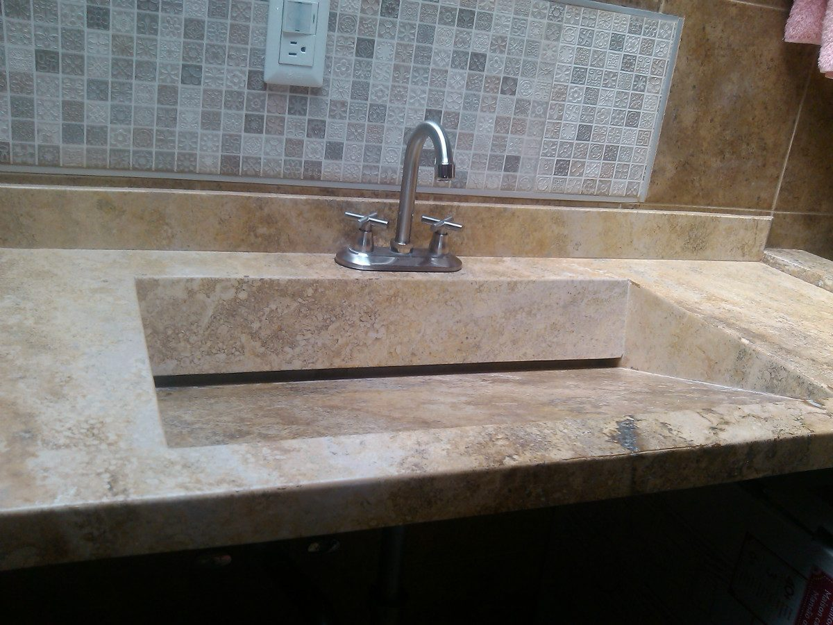 Lavabos artesanales best toalha de lavabo bege com for Vendo marmol travertino