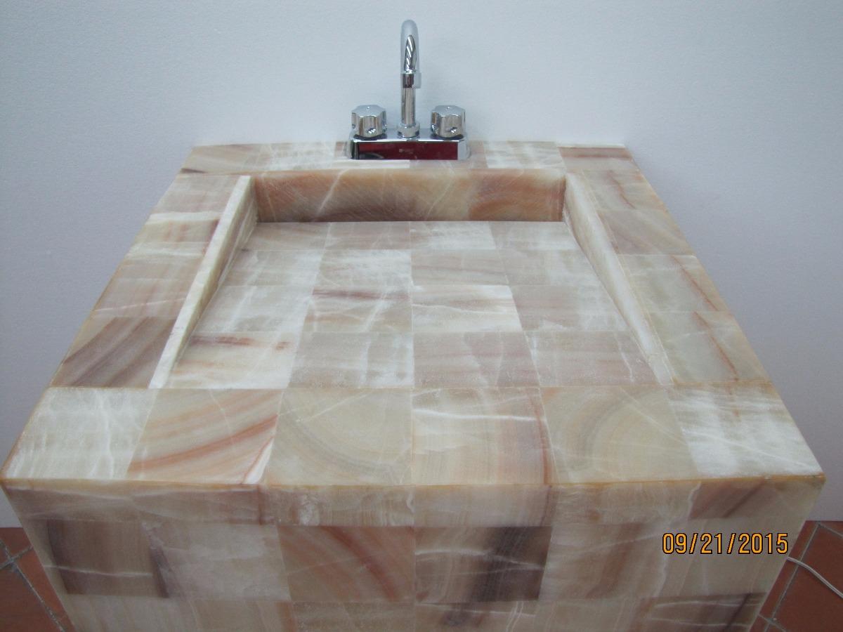 Lavabo de onix de 60 x 50 x 85 alt con iluminaci n for Precio llave lavamanos