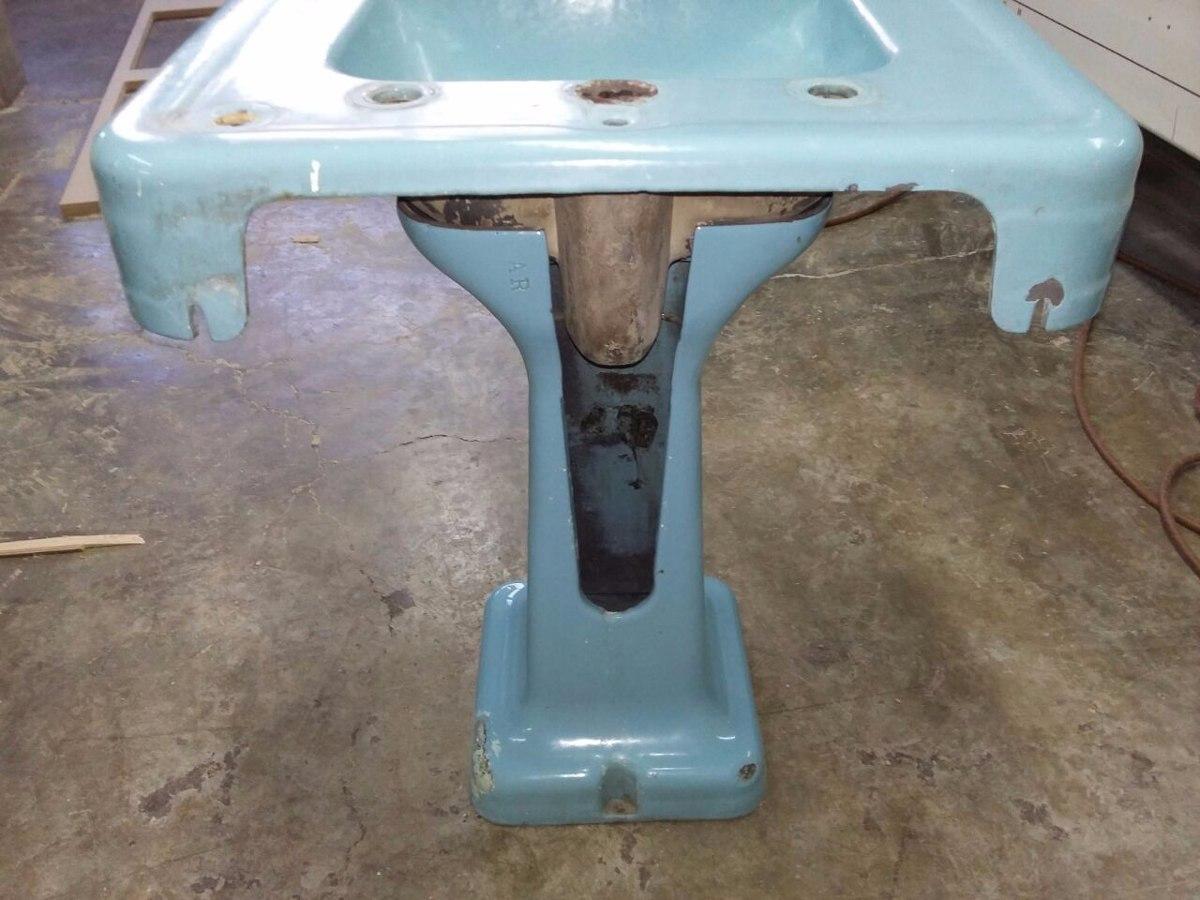 Lavabo lamavamanos con pedestal de hierro fundido antiguo for Lavamanos con pedestal