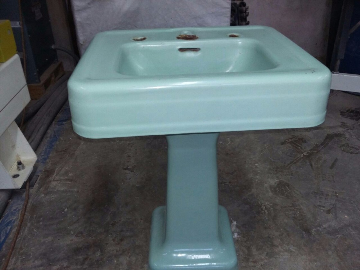 Lavabo lamavamanos con pedestal de hierro fundido antiguo for Lavabo con pedestal