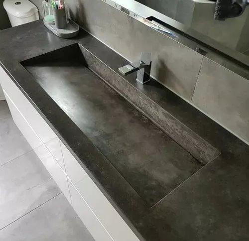 Lavabo lavamanos ba o peque os concreto pulido accesorios 2 en mercado libre - Banos cemento pulido ...