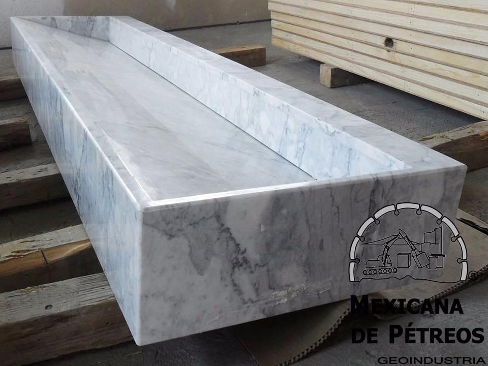 Lavabo Minimalista De Mármol Blanco Veneciano Para Baño - $ 3,850.00 ...