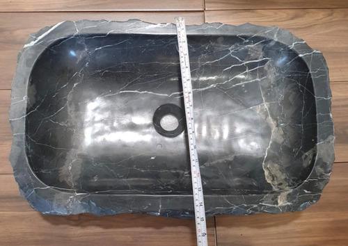 lavabo, ovalin rústico mármol negro 60cm piedra natural baño