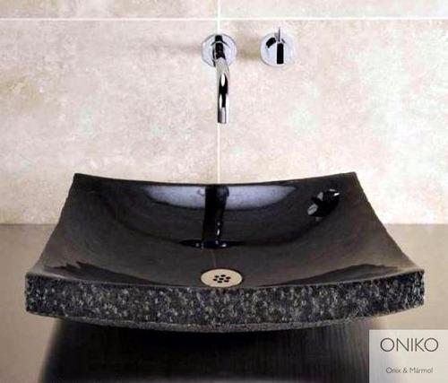 lavabo ovalines mármol negro 40cm