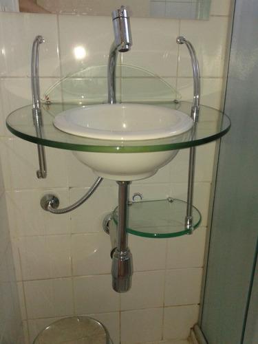 Lavabo Vidro Temperado Cris Metal  Pia De Vidro Banheiro  R$ 260,00 em Mer -> Pia Banheiro Cris Metal
