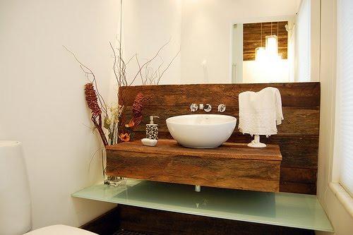 Lavabos E Bancadas, Pia Banheiro  Em Madeira De Demolição  R$ 390,00 em Mer -> Pia De Banheiro Rustica