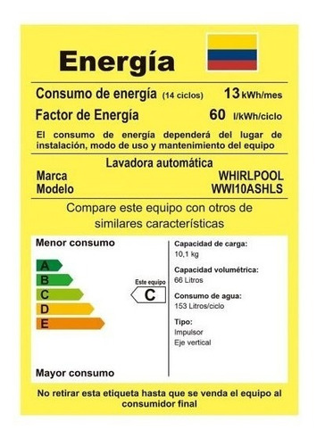 lavadora carga superior automática 10.1 kg wwi1 whirlpool