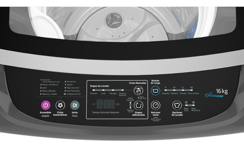 lavadora carga superior turbo power 16kgs gris whirlpool