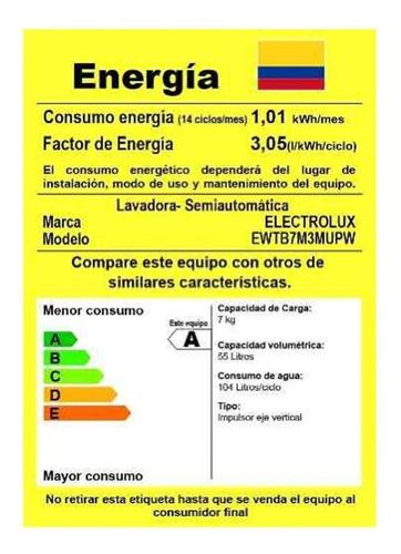 lavadora electrolux semiautomatica 7 kgr/15lb ewtb7m3mup