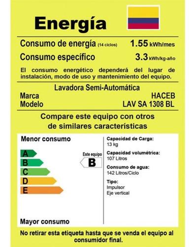 lavadora haceb 28.6 lbs 13kg - lav sa 1308 bl-blanca
