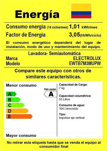 lavadora semiautomática doble tina ewtb7m3mupw electrolux