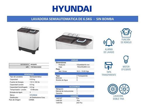 lavadora semiautomática hyundai 6.5 kg - hylsa7k