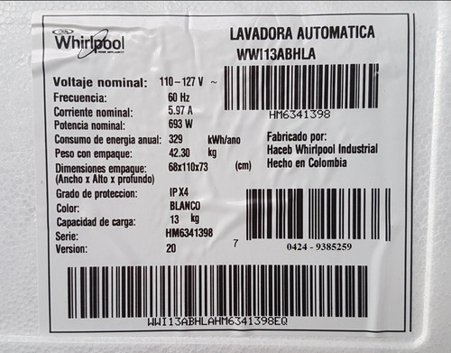 lavadora whirlpool 13 kilos nueva