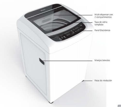 lavadora whirlpool intelligent 14kg (28 libras) wwi14ashla
