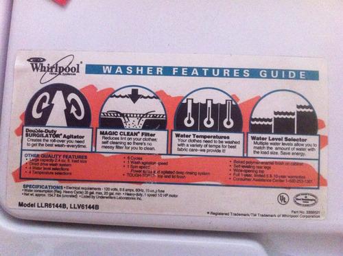 lavadora whirpool 6 ciclos nueva