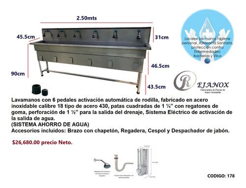 lavamanos activación automática pedal de rodilla acero inox