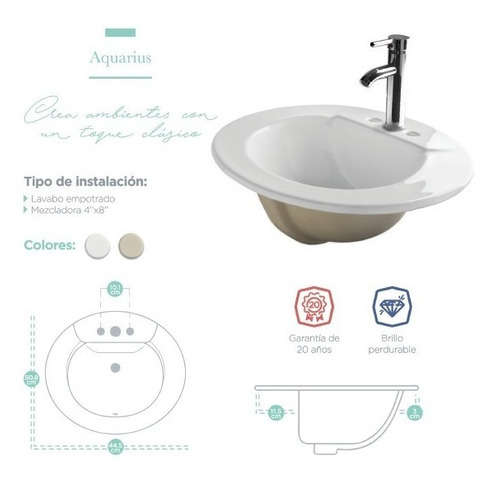 lavamanos ovalin acuarius cerámica lavabo c/ envío gratis