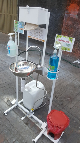 lavamanos portátil y  dispensadores de gel