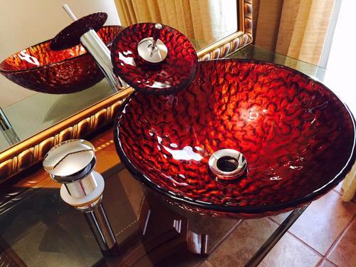 lavamanos vanitorio vidrio templado mas griferia y desague