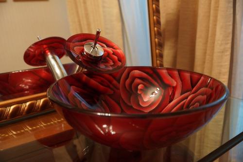 lavamanos vidrio templado +griferia cascada+desagüe pop