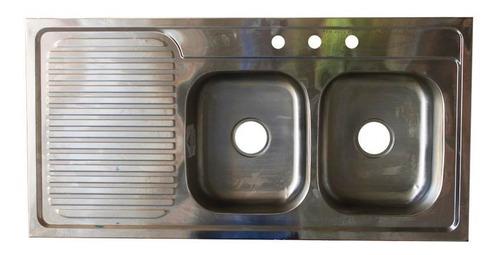 lavaplato 1.20 x 60 doble pozeta mezcladora 8` aleta izquier