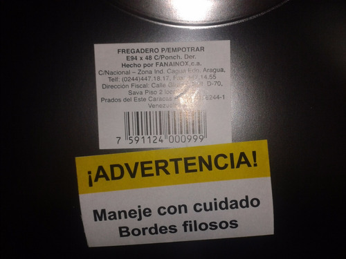 lavaplato fregadero 94x48 marca fanainox