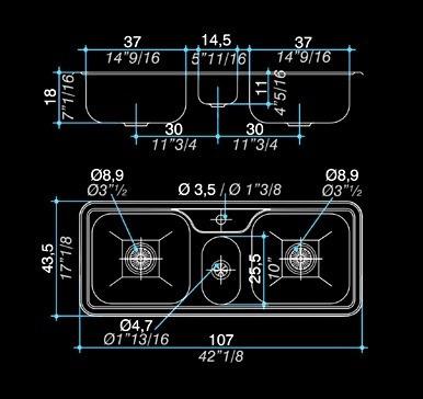 lavaplatos triple acero inoxidable hydra j 107 a