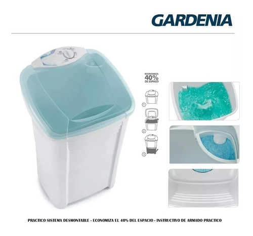 lavarropa semiautomatico gardenia pvc 5 kg desmontable