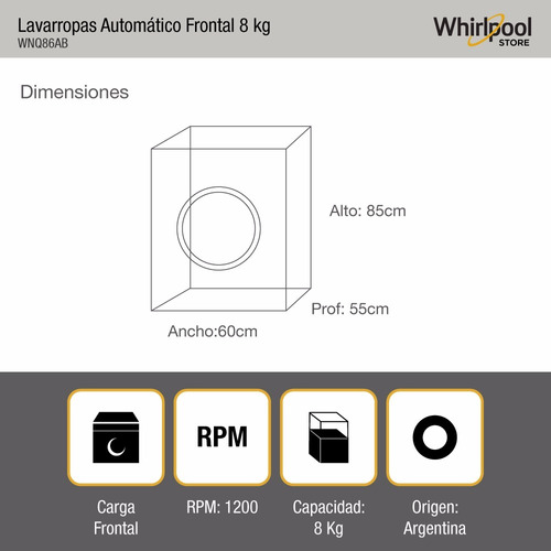 lavarropas automático frontal whirlpool 8kg 1200rpm wnq86ab