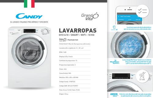 lavarropas candy gvf1410 smart wifi inverter 10 kg 1400 rpm