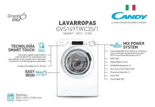 lavarropas candy gvs149 smart 9 kg 1400 rpm carga frontal