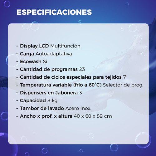 lavarropas drean superior gold blue 10.8 eco 8kg blanco 6ct