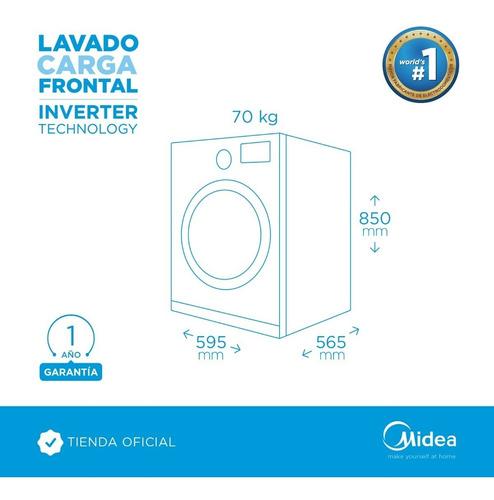 lavarropas midea carga frontal inverter silver 10 kg 1400rpm