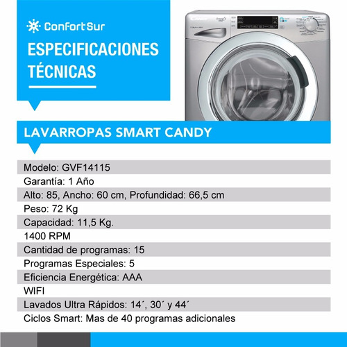 lavarropas smart candy gvf14115 11,5 kg 1400 rpm wifi *10