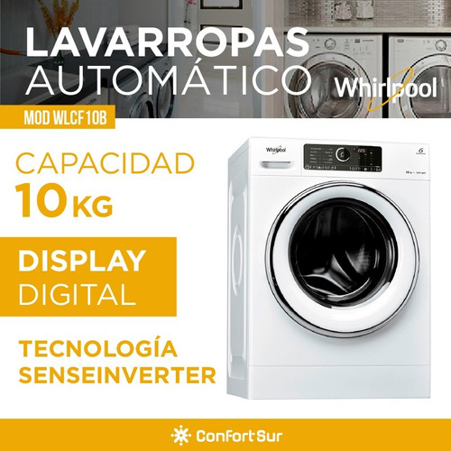 lavarropas whirlpool frontal 10kg 1400 inverter wlcf10b **8