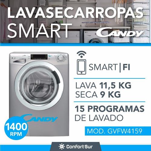 lavasecarropas smart candy gvfw4159 11,5 kg wifi plateado *9