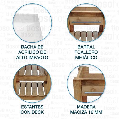 lavatorio campo pino rustico 2 deck 50 bacha maral macizo