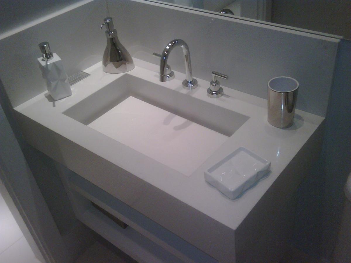 Lavatório Com Cuba Esculpida Em Mármore Branco Prime  R$ 1138,00 em Mercado -> Pia De Banheiro Branco Prime