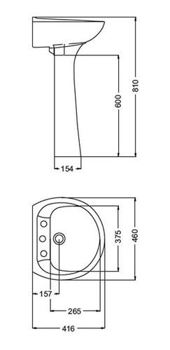 lavatorio ferrum florencia olivo blanco lof3 (3 agujeros)