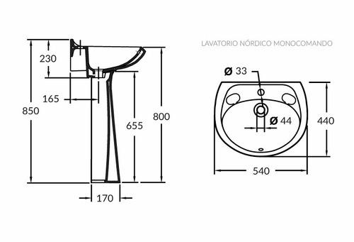 lavatorio nórdico olmos® monocomando hueso sin pedestal