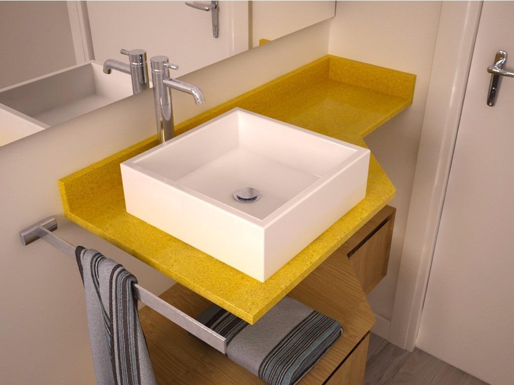Lavatório Quartzo Amarelo Estrelar  (igual Silestone)  R$ 490,00 em Mercado -> Cuba Banheiro Silestone
