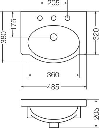 lavatorio venecia ferrum 48 cm blanco l4v3j (3 agujeros)